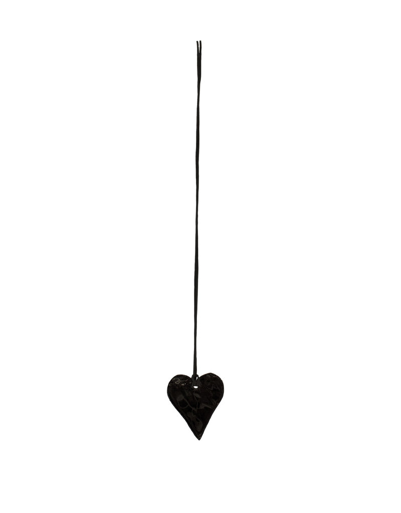Entouquet Glossy Black Porcelain Heart on Leather - Small