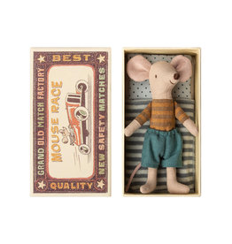 Maileg Big Brother Mouse in Box - Striped Brown + Rust Shirt + Teal Pants