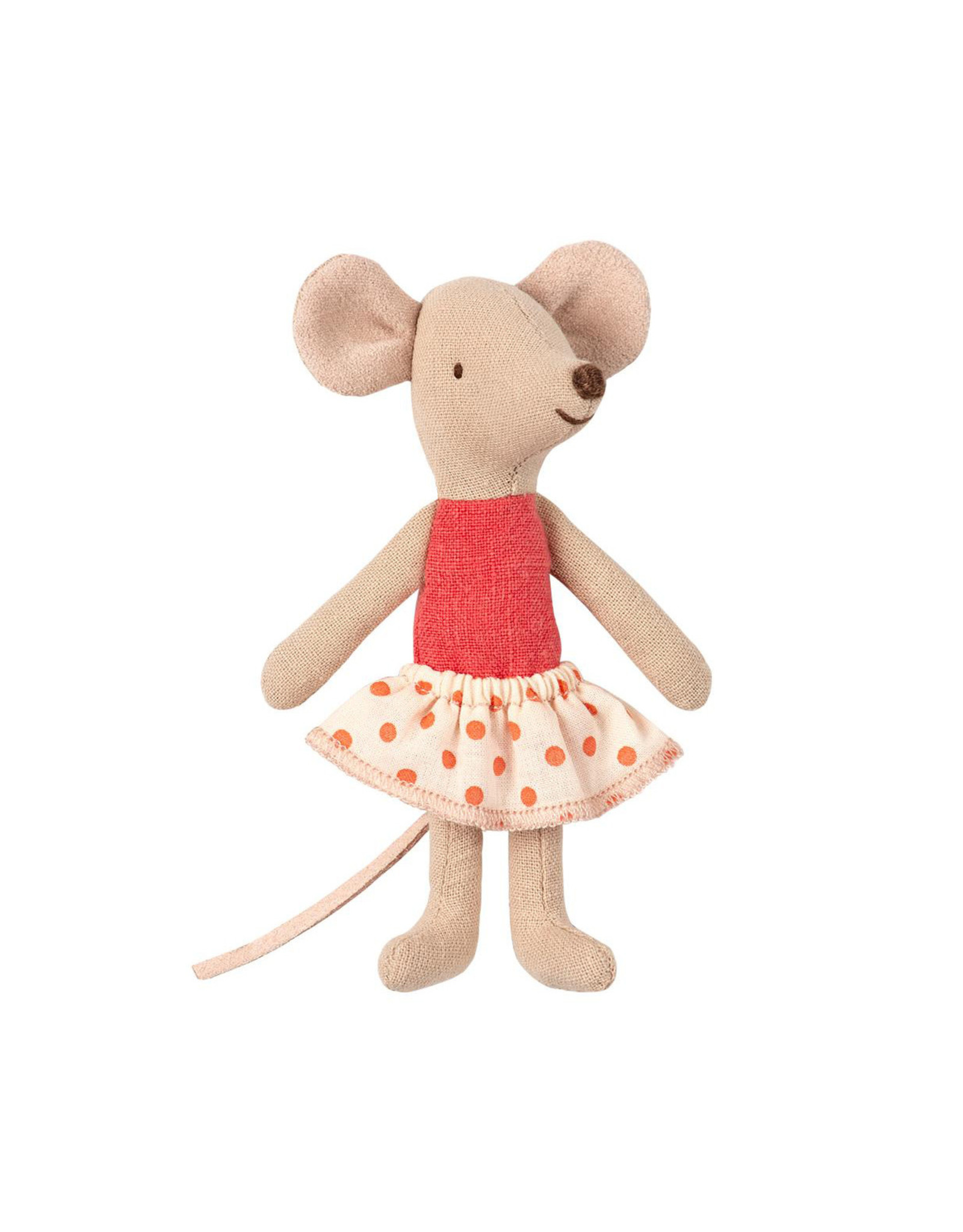 Maileg Little Sister Mouse in Box - Coral Shirt + Polka Dot Skirt