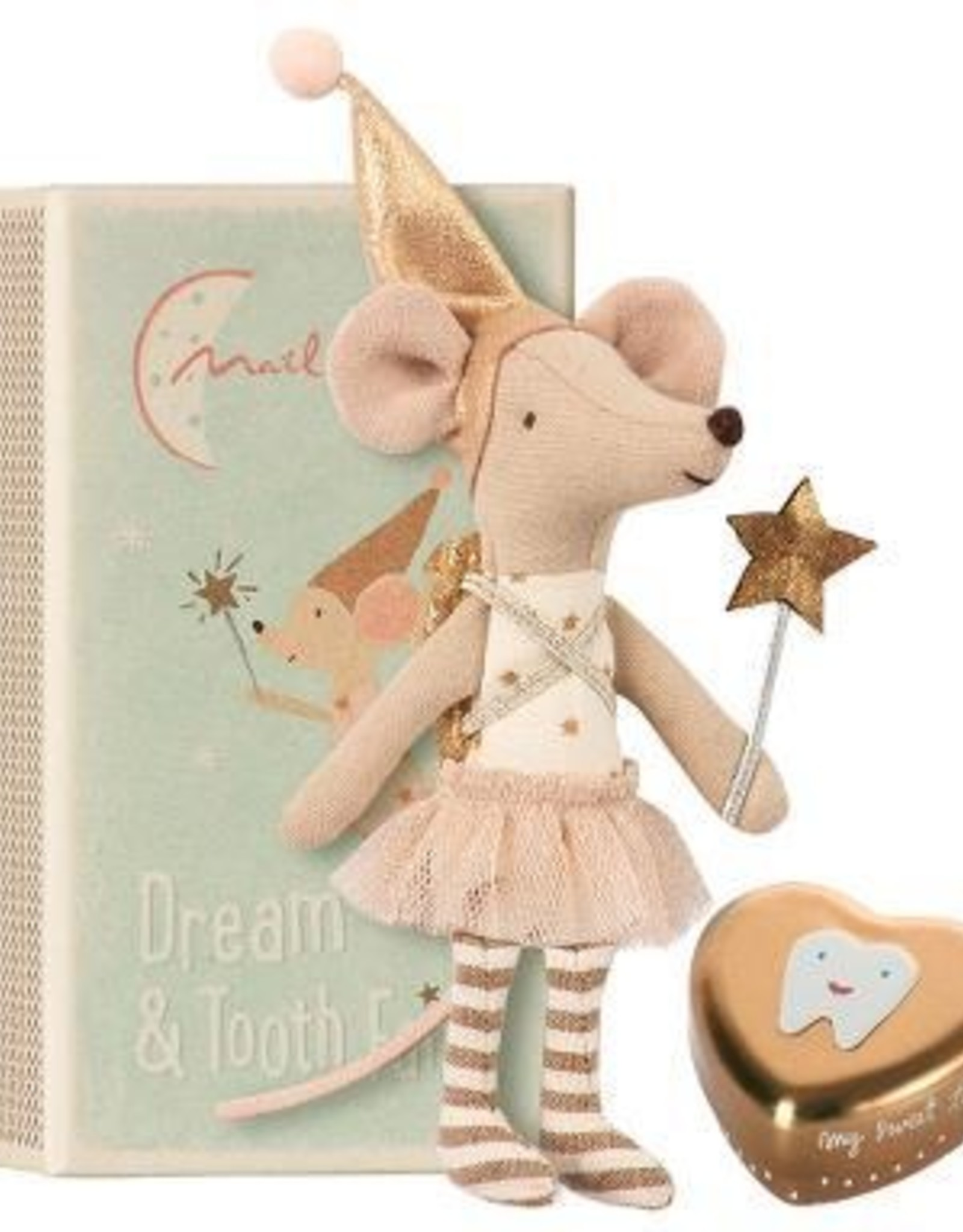 Maileg Tooth Fairy Big Sister Mouse in Box with Metal Tooth Box