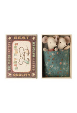 Maileg Baby Mice Twins in Box - Teal Flowered Blankie