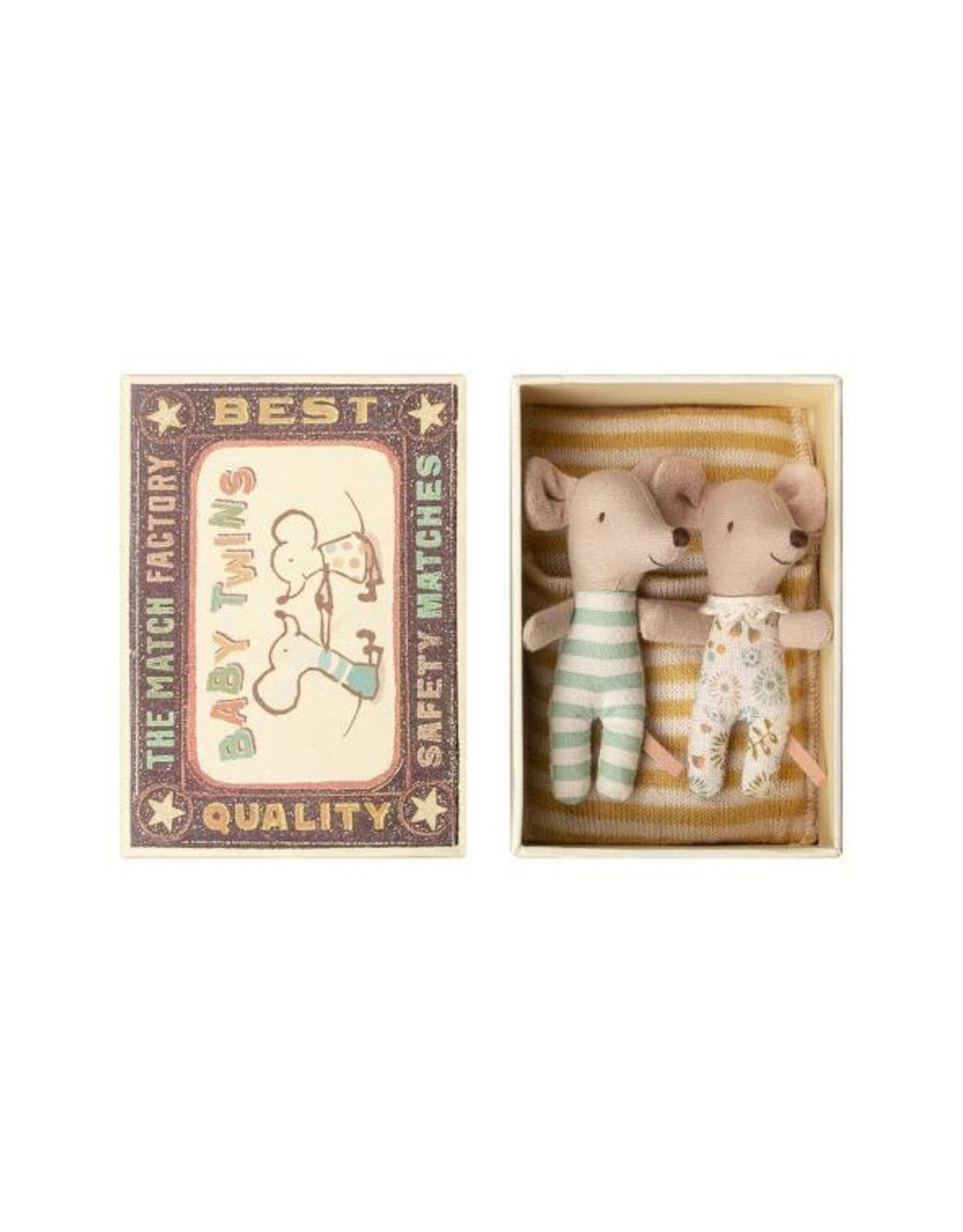 Maileg Baby Mice Twins in Box - Yellow Striped Blankie