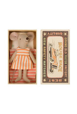Maileg Big Sister Mouse in Box - Orange Sherbet Striped Dress