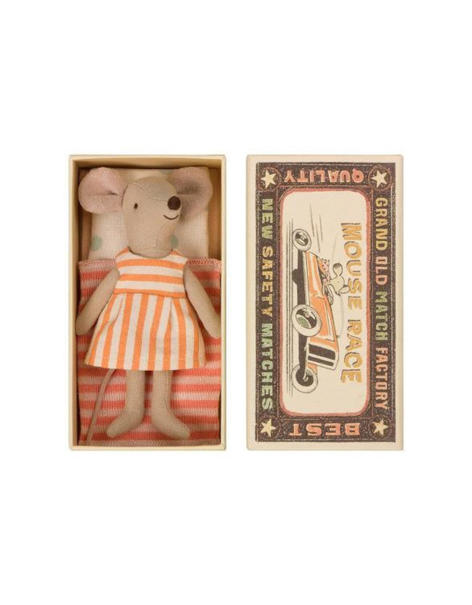 Maileg Big Sister Mouse in Box - Orange Sherbet Striped Dress
