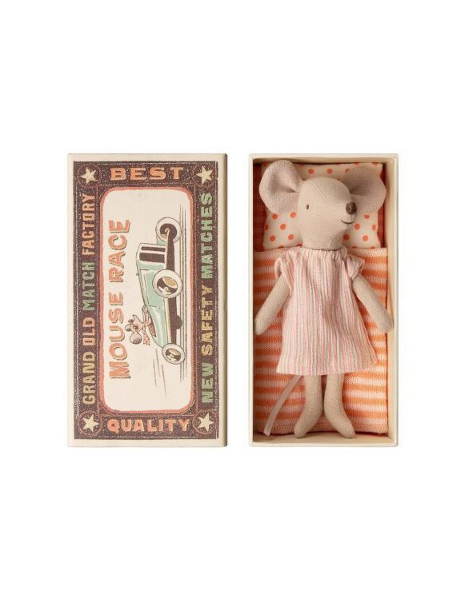 Maileg Big Sister Mouse in Box - Pink + Grey Striped Nightgown