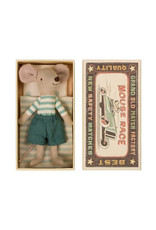 Maileg Big Brother Mouse in Box - Teal Striped Shirt + Teal Shorts
