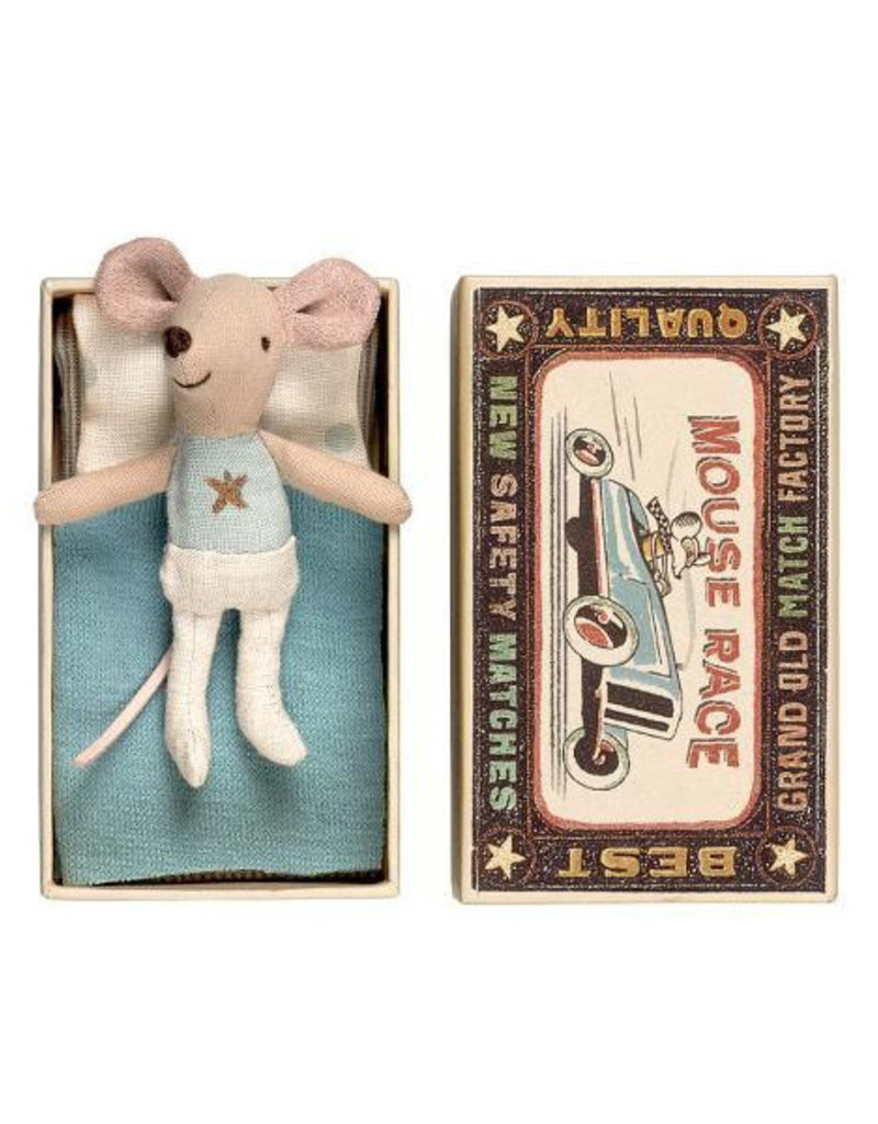 Maileg Little Brother Mouse in Box - Blue Shirt with Silver Star