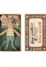 Maileg Little Brother Mouse in Box - Yellow Striped Shirt + Teal Pants