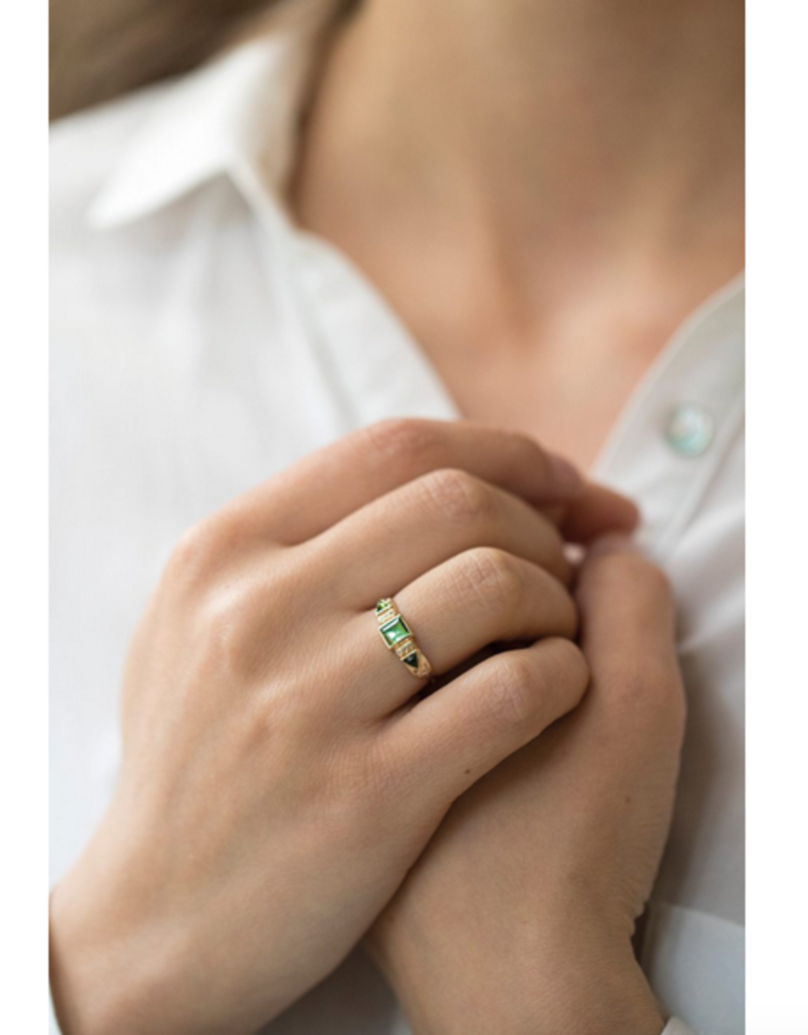 Celine Daoust Totem Ring - Green Tourmaline + Diamonds