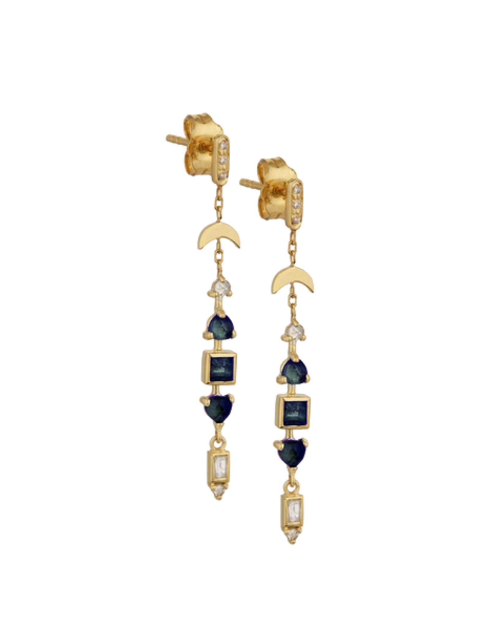 Celine Daoust Totem Earrings - Blue Green Tourmalines + Diamonds