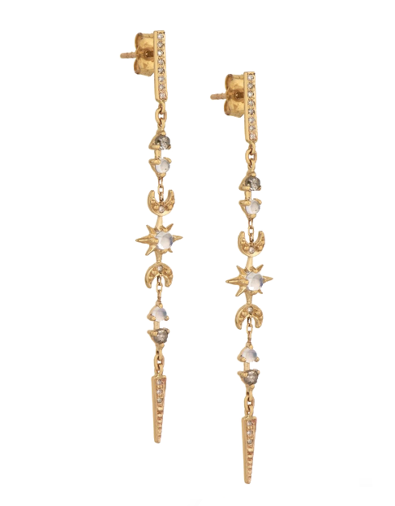 Celine Daoust Moon + Sun Long Chain Earrings - Moonstones + Diamonds