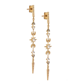 Celine Daoust Moon + Sun Long Chain Earrings - Moonstones + Diamonds