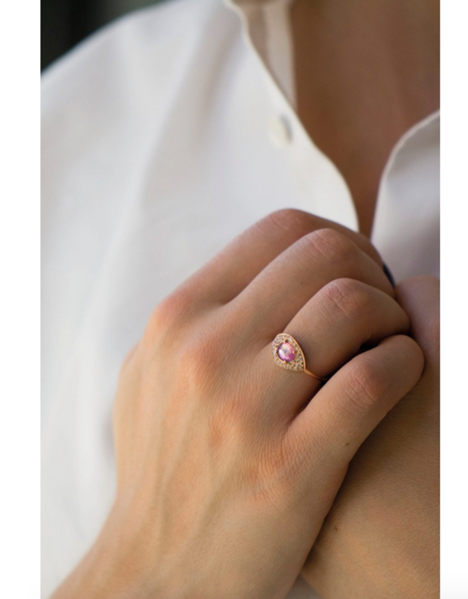 Celine Daoust Full Eye Ring - Pink Tourmaline  + Diamonds