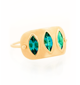 Celine Daoust Triple Marquise Plate Ring - Green Tourmaline