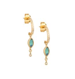 Celine Daoust Dangling Blue-Green Tourmaline + Diamond Hoop Earrings