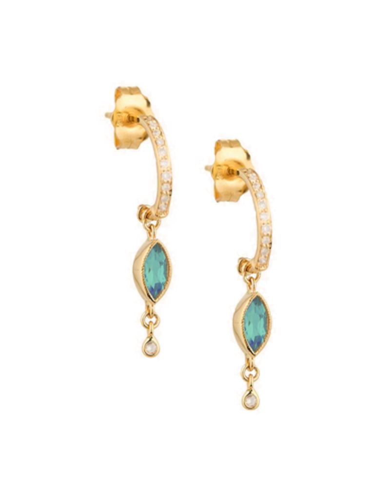 Celine Daoust Marquise Blue Green Tourmaline + Dangling Diamond Hoop Earrings