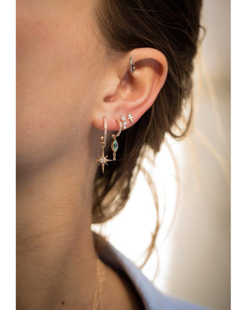 Celine Daoust Marquise Blue Green Tourmaline + Dangling Diamond Hoop Earrings