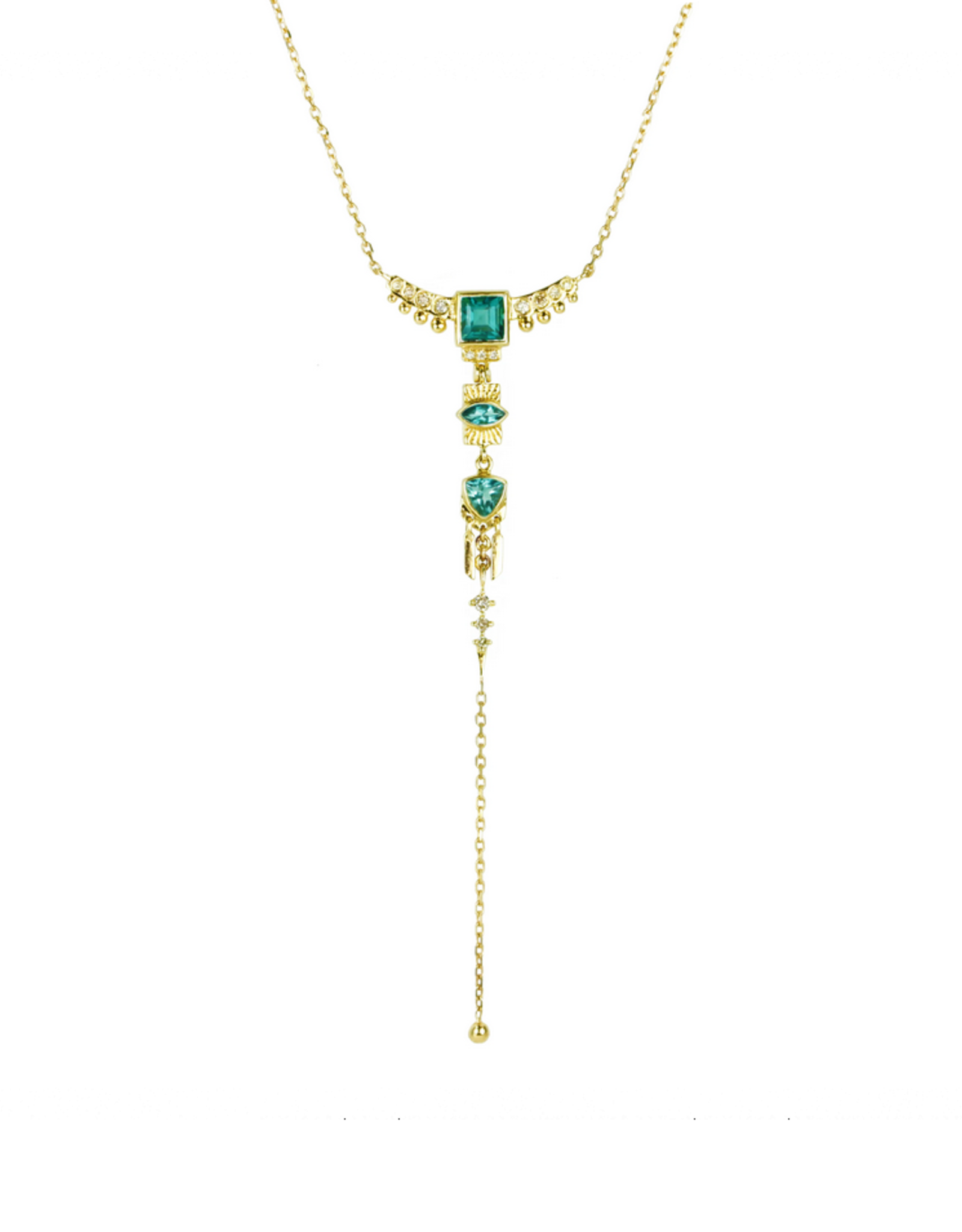 Celine Daoust Totem Lariat Necklace - Green Tourmaline + Diamonds