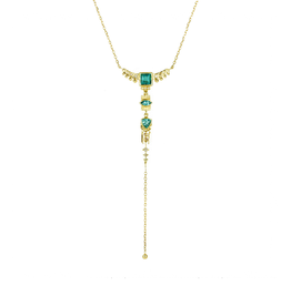 Celine Daoust Totem Lariat Necklace - Green Tourmaline + Diamonds