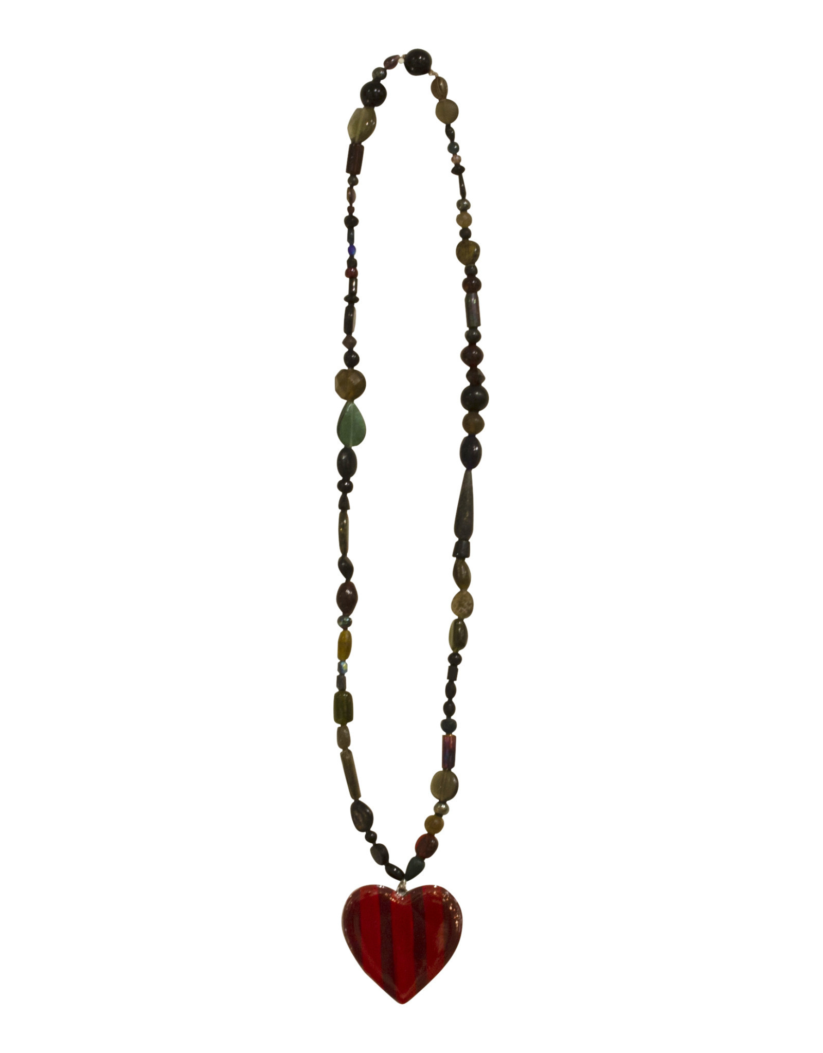 Entouquet Scarlet Striped Maroon Extra Small Heart Dark Beaded Hanging