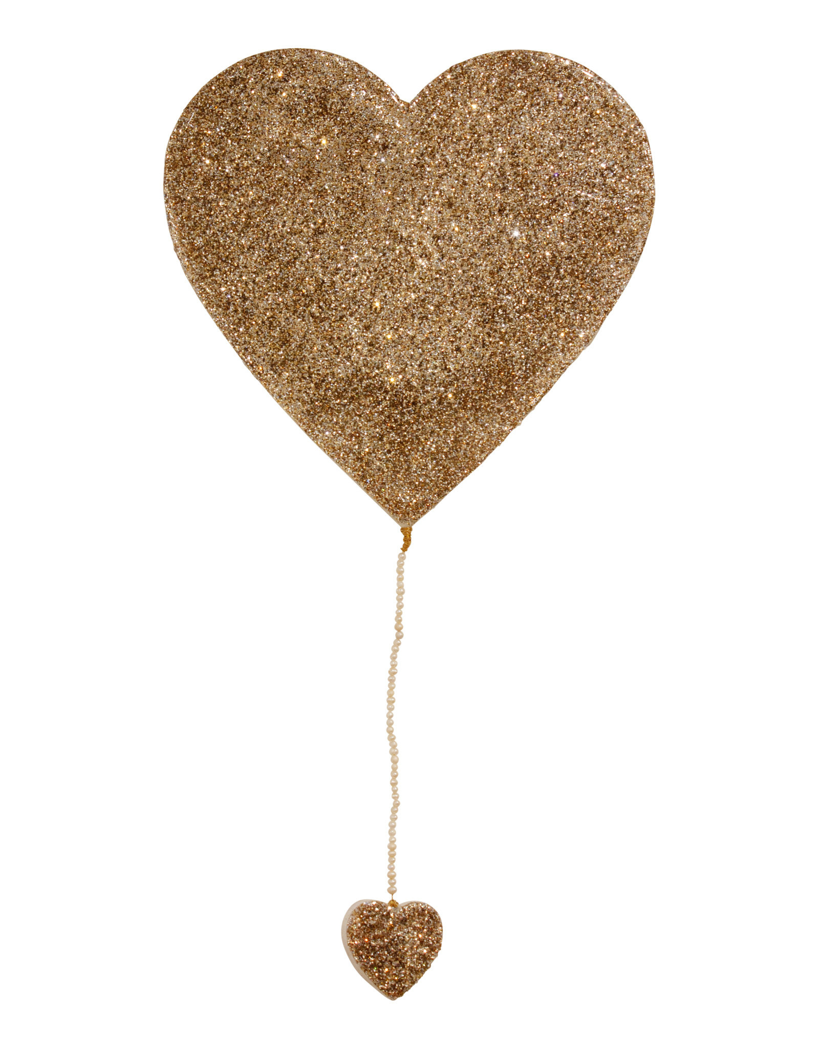 Entouquet Champagne Glitter Large Heart with Pearl Beaded Heart Tail