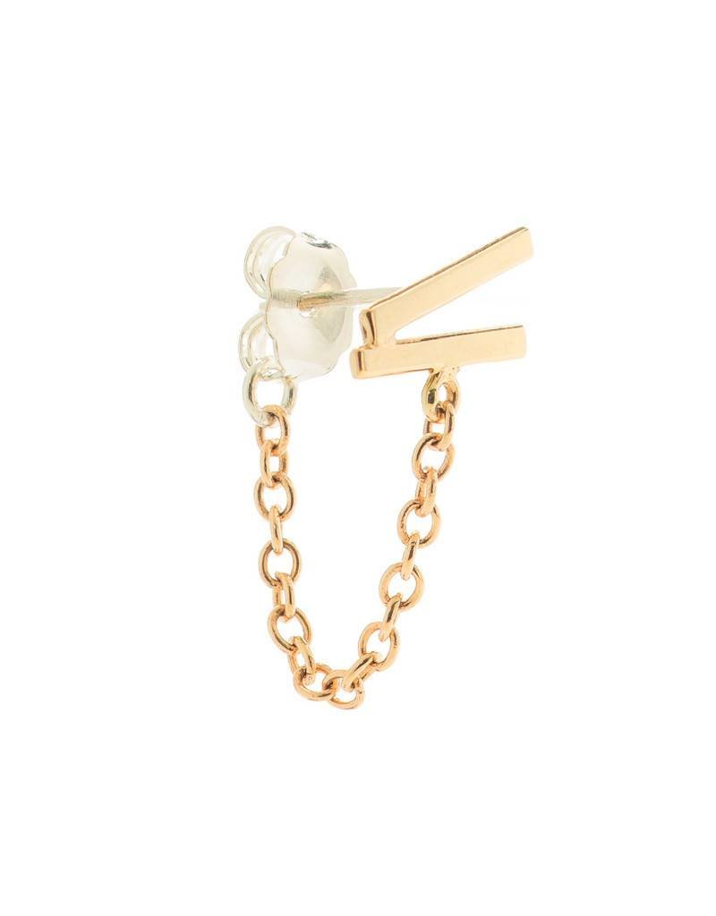 WHITE/SPACE Off Kilter Chain Stud Earring - 14K Gold