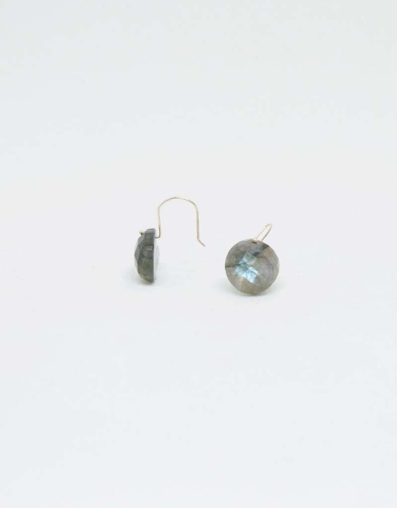 Bruml Design Labradorite - Rhudilated Quartz Round Facet Earring