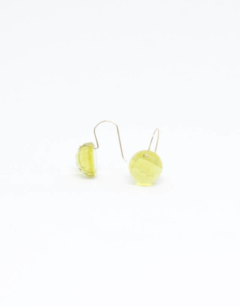 Bruml Design Citrine - Rhudilated Quartz Round Facet Earring
