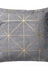Light Grey Melange Pillow with Gold Diagonal Print