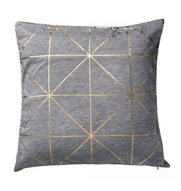 Light Grey Melange Pillow with Gold Diagonal Print