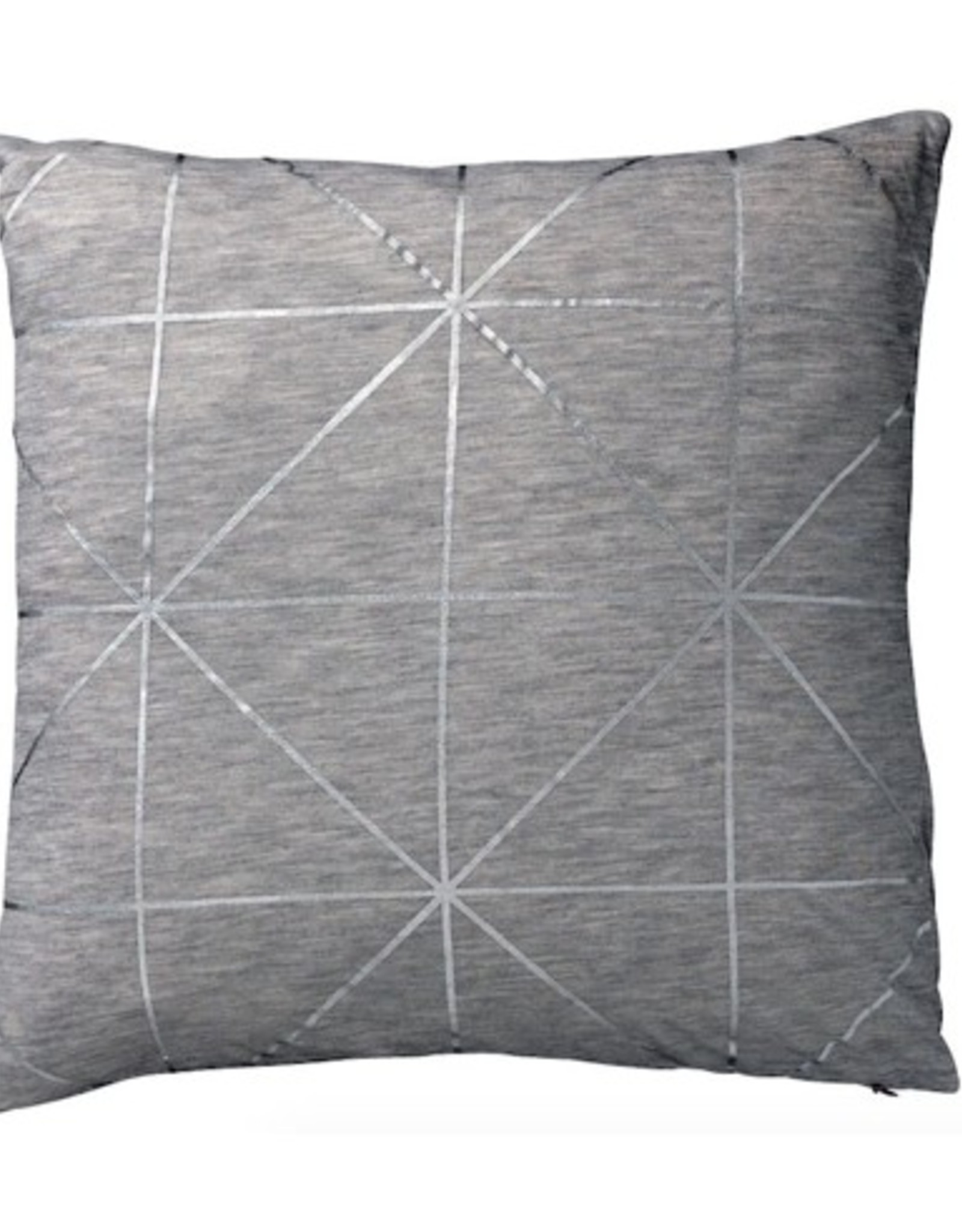 Light Grey Melange Pillow with Silver Diagonal Print