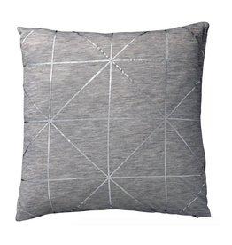 Light Grey Melange Pillow with Silver Diagonal Print