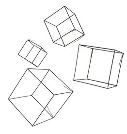 Gold Leaf Wire Cube - Set of 4