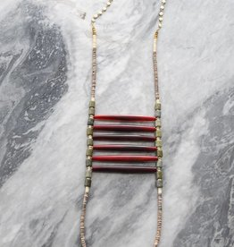 Ink + Alloy Vana - Red Chest Plate Necklace