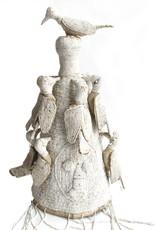 Kiondo White Beaded Yoruba Crown on Stand - Small