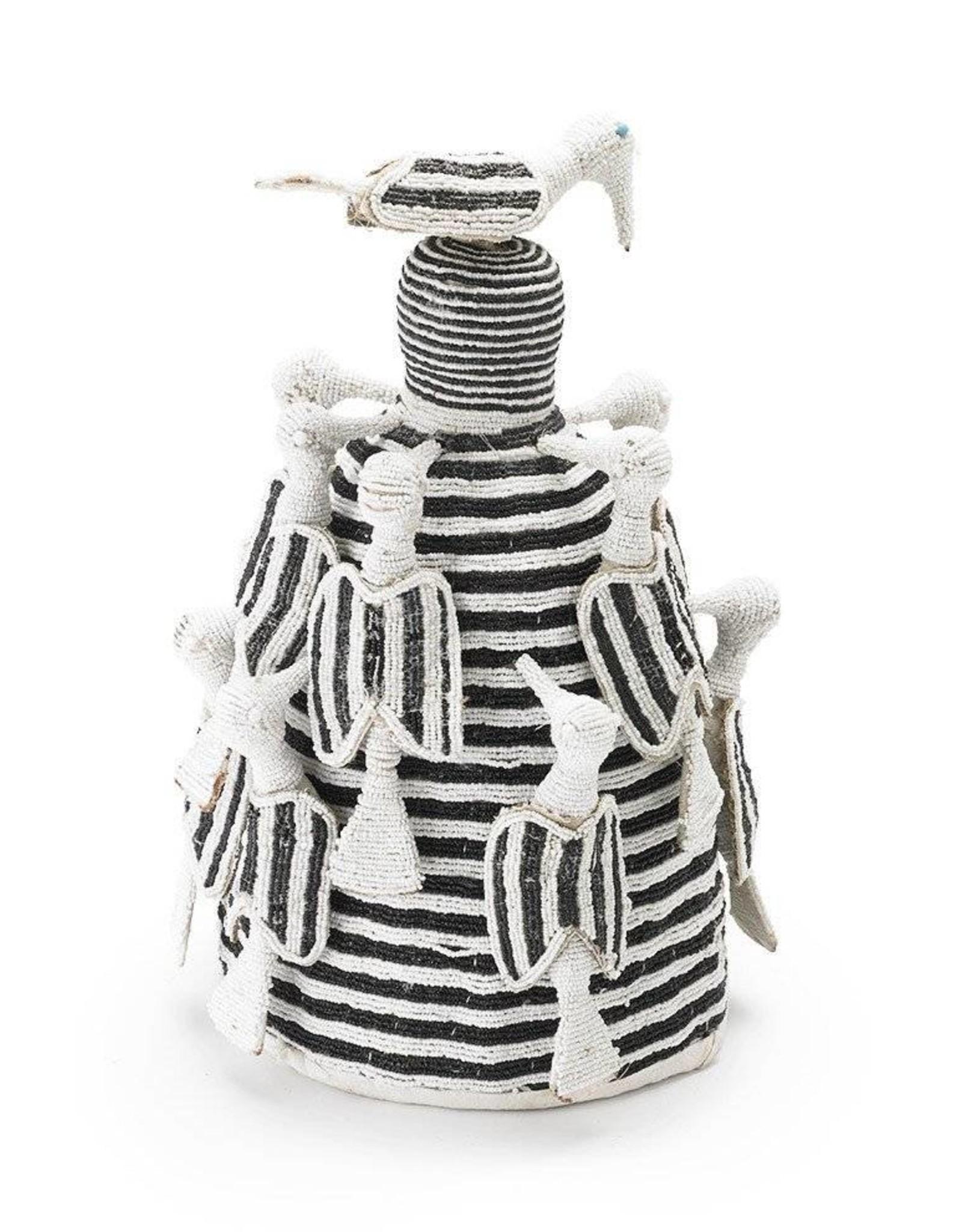 Kiondo White and Black Yoruba Crown on Stand - Small