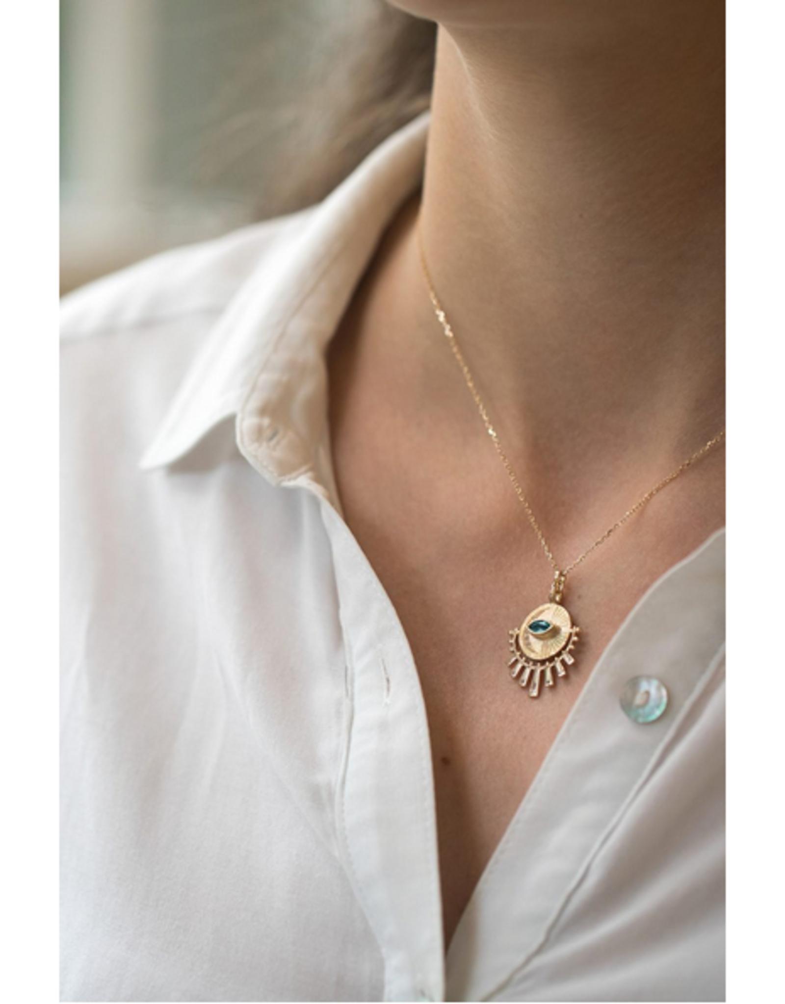 Celine Daoust Sun Beams Medallion Necklace - Marquise Green Tourmaline + Diamonds