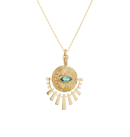 Celine Daoust Sun Beams Medallion Necklace - Marquise Green Tourmaline + Diamonds