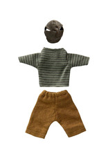Maileg Dad Outfit - Sage Striped Top and Brown Pants