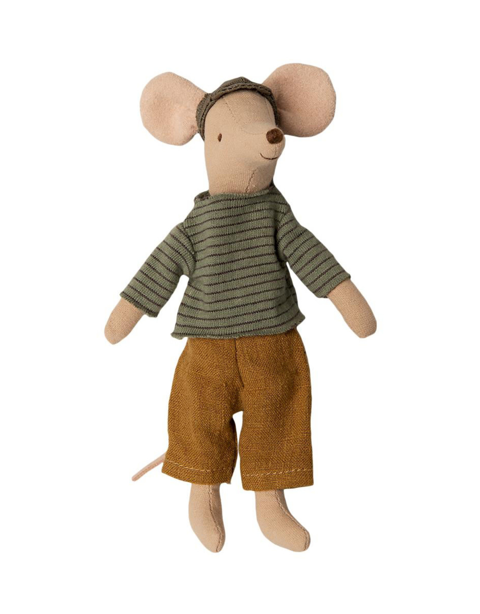 Maileg Dad Mouse Outfit - Sage Striped Top and Brown Pants