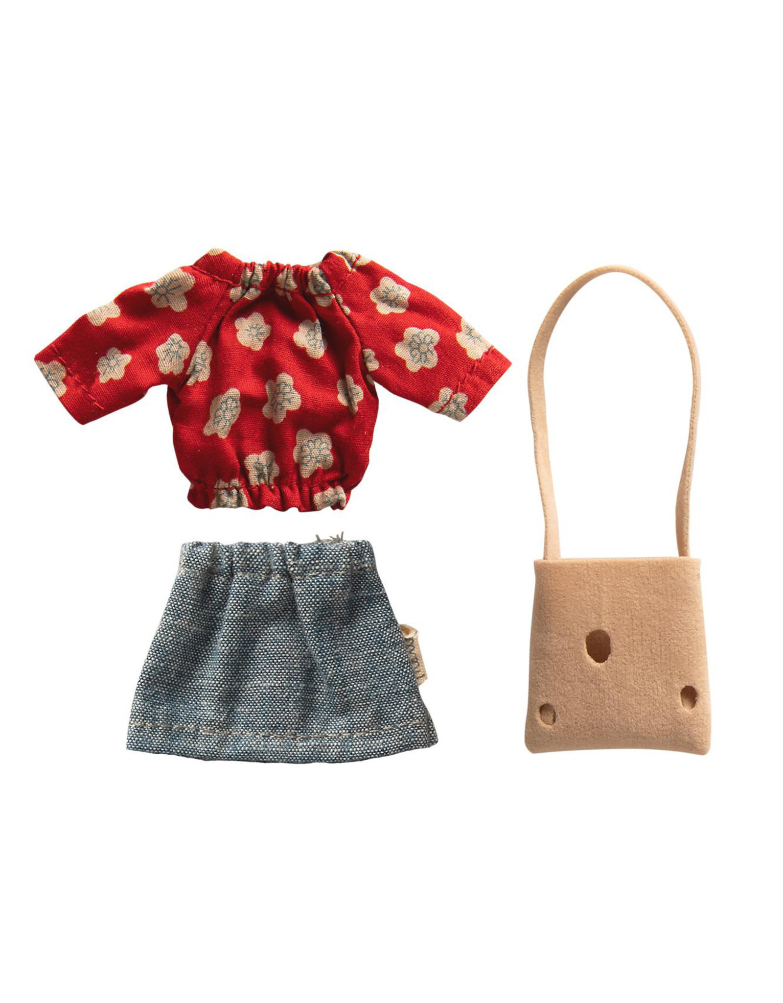 Maileg Mum Mouse - Red Floral Top + Denim Skirt