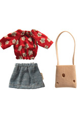 Maileg Mum Outfit - Red Floral Top + Denim Skirt