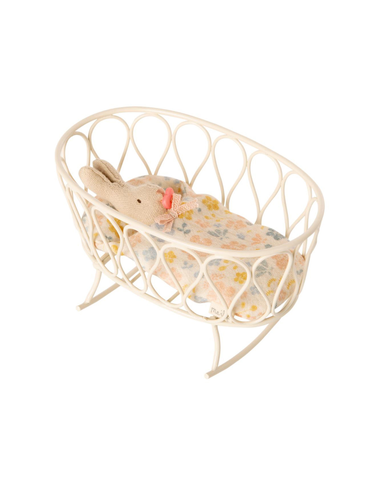 Maileg Mouse Cradle with Sleeping Bag - Off White