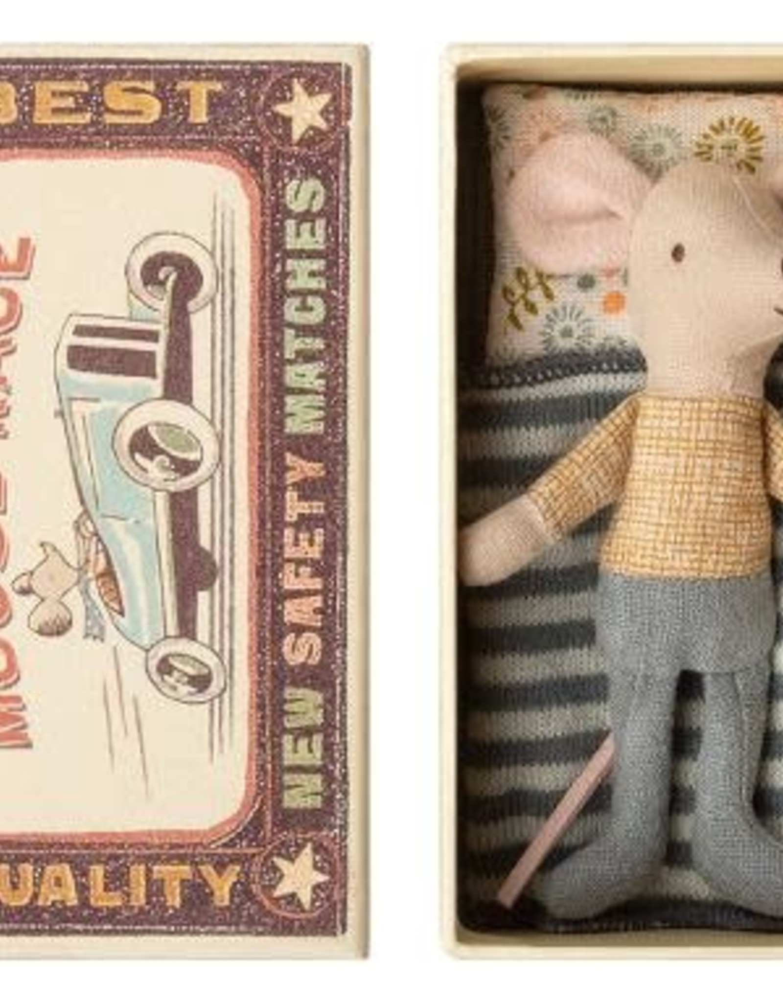 Maileg Little Brother Mouse in Box - Gold Checked Shirt + Jeans