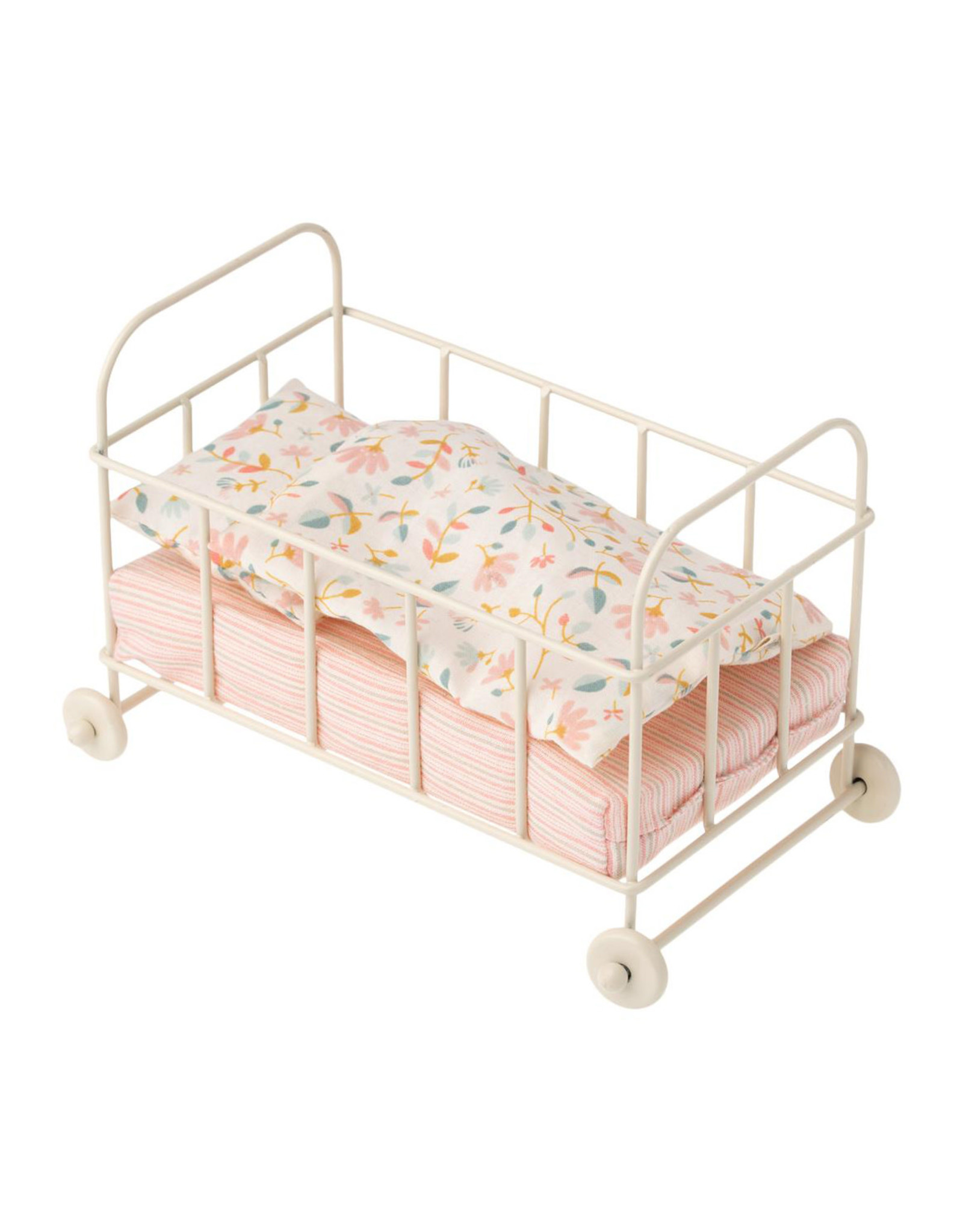 Maileg Metal Cot - Light Pink with Floral