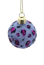 Cody Foster & Co. GLITTERED PERIWINKLE LEOPARD BALL ORNAMENT - SMALL