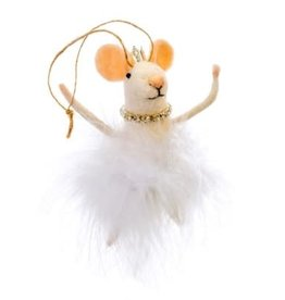 Indaba White Swan Mouse Ornament