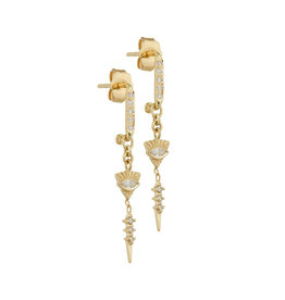 Celine Daoust Totem Dangling Sapphire Eye Spike Earrings