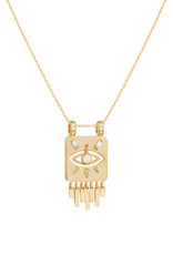 Celine Daoust Dangling Diamond Eye Totem Fringe Plate Necklace
