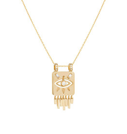 Celine Daoust Dangling Diamond Eye Totem Fringe Plate Necklace